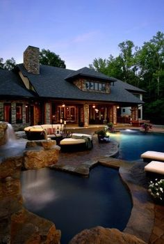 YES PLEASE. log cabin country homes..... Definitely want space in the back, and a pool. Especially if the yard is private and surrounded by trees