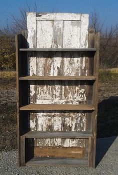 Beautiful 1800's Reclaimed Barn Shelf With Primitive Antique Early Century Farm House Door Backing Home Cabin Country Decor.