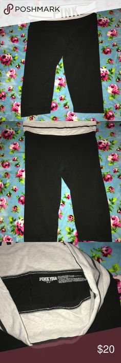 PINK Victoria's Secret crop yoga capris Medium. Great condition. Very minimum pilling. A very scant amount in the crotch area but nothing to even photograph, can only feel just a tiny bit of pilling. Capri lentgth. Comes from a smoke free home. No stains/rips/tears. PINK Pants Capris