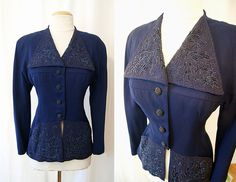 Glamorous 1940's midnight blue hand beaded by wearitagain on Etsy, $298.00