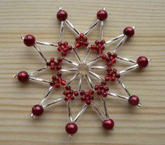 New Christmas Snowflake Ideas Diy Christmas Snowflakes, Beaded Christmas Decorations, Snowflake Craft, Snowflake Decorations, Snowflake Ornaments, Beaded Ornaments, Christmas Baubles, Holiday Ornaments, Beaded Snowflake