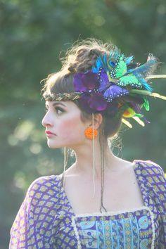 Dhalia Orchid - Bohemia Couture Hair Adornment , Headdress , Costume , Headband , Hat , Headpiece. $301.00, via Etsy.