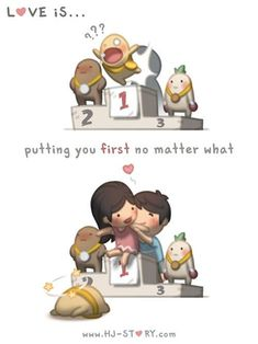 Check out the comic HJ-Story :: Love is. Putting You First Hj Story, Love Is Cartoon, Cute Couple Cartoon, Cute Love Cartoons, Chibi Couple, Funny Cartoons, Cute Love Stories, Love Story, Love Is Sweet
