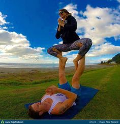 Acro Yoga pose Straddle Throne in Ohope Beach, NZ ~ Enlighten up! #YogaIllumined's mission is to light up your life with #Yoga. We offer daily #YogaClasses, lifestyle programs and #YogaTeacherTrainings in #SouthCongress #Austin #ATX—Feel free to call 866-447-6943 or visit our website www.yogaillumined.com