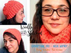 Convertible Hat - Neck warmer Easy Crochet Hat, Crochet Winter Hats, Crochet Hat For Women, Knit Crochet, Star Stitch, Crochet Accessories, Loom Knitting, Neck Warmer, Hats For Women