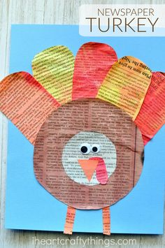 This gorgeous watercolor painted newspaper turkey craft makes a great Thanksgiving kids craft for your family to enjoy together.