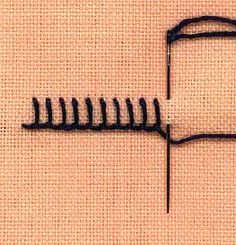 a step by step illustration of how to work buttonhole stitch