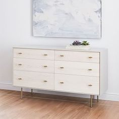 Modernist Wood + Lacquer 6-Drawer Dresser - Winter Wood