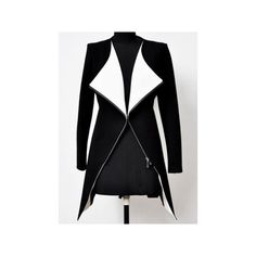 Black White Lapel Long Sleeve Zipper Trench Coat ($88) ❤ liked on Polyvore