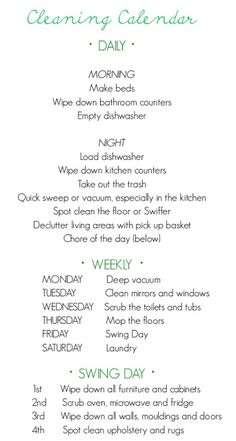 Finally, A Cleaning Schedule that I think I could stick with! Think it might help me be a better cleaner/organizer! Diy Cleaning Products, Cleaning Solutions, Cleaning Hacks, Cleaning Schedules, Chore Schedule, Cleaning Checklist, Cleaning Routines, Cleaning Rota, Deep Cleaning