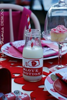Milk bottles at a Valentine's Day Party #valentineparty #milkbottles