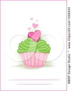 Clipart Party Invite With A Heart Cupcake With A Pink Border - Royalty Free Vector Illustration by BNP Design Studio
