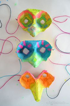 These adorable masks are made from egg cartons- too FUN!
