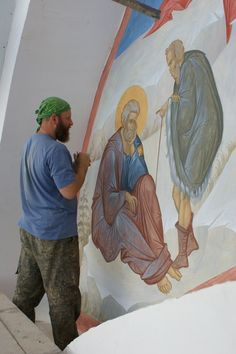 Tempera, Fresco, Church Interior, Mural Painting, Style Icons, Drawings, Murals, Writing, Wall