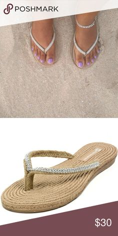 "Rhinestone Braided Thong Flip Flop Sandals These flip flops are uniquely stylish and offer your feet unbelievable comfort. They will be your go-to shoes for everyday wear. Product Features: 1/2"" Heeled Flip Flops with Rubber Sole 1/4"" Padded Insole with Braided Hemp. Look Soft and Comfortable Braided Wicker Straps with Rhinestones adornments Lightweight for durability Man-made Materials Medium Width. Boutique  Shoes Sandals"