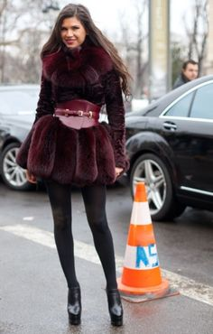this outfit can fall into multiple categories. inspiration. fur. street style. AMAZING!