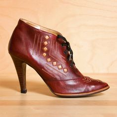 oxblood lace up booties . kenaione . etsy