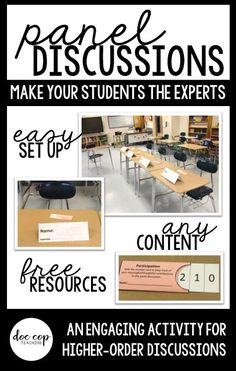 Exclusive free resources plus easy directions for facilitating a panel discussion; great way to engage students and put them in charge of their own learning! Cooperative Learning Strategies, Teaching Strategies, Teaching Ideas, Creative Teaching, Teaching Skills, Teaching Time, Middle School English, Middle School Science, Teacher Blogs