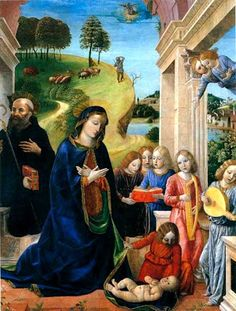 Foppa, Vincenzo (c.1430-c.1515) Adoration of the Child with St. Benedict and Angels, 1480