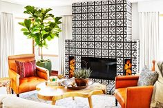 Two-color patterned cement tile fireplace