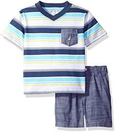 Nautica Boys' Striped V-Neck Tee and Chambray Short Set, Ink, 12 Months Baby Boy Clothes Check more at http://www.newbornbabystuff.com/nautica-boys-striped-v-neck-tee-and-chambray-short-set-ink-12-months-baby-boy-clothes/