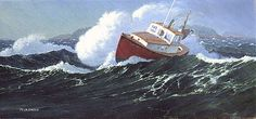 """""""Storm on Machias Bay"""", Alkyd. This painting and """"Caught In The Surge Off Great Wass"""" were two of a pair of small rough-water paintings I did for the Mystic Maritime Gallery. Later, they were sold separately. Recall and imagination are required for such paintings. You cannot do paintings on the spot in such conditions. #maine #machiasbay #lobsterboat #woodenboatmagazine #maritimeart"""