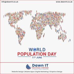 To SAVE the world 🌍, to protect the tomorrow, we have to control the Population 👨‍👨‍👦 Today. Let's Celebrate 🤝 them to spread the awareness 💞.  #dawnitserviceslimited wishes🥳🥳…Happy #WorldPopulationDay!!  #planfamily #SavePlanet  #worldpopulation #UnitedKingdom #webdesign #webdevelopment #webapplicationdevelopment #mobileappdesign #digitalmarketing #openourcedevelopment #ecommercedevelopment Mobile App Development Companies, Mobile Application Development, Web Development, Web Design, Logo Design, World Population, Mobile App Design, Seo Services, Digital Marketing