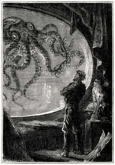 It was a squid of colossal dimensions.  From Vingt mille lieues sous les mers (Twenty thousand leagues under the seas), by Jules Verne, illustrated by Édouard Riou and Alphonse de Neuville, Paris, 1871.  (Source: archive.org)