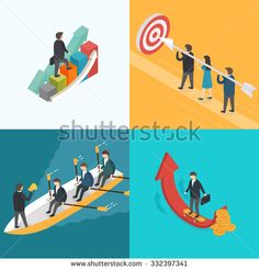 Business, Growth, Teamwork, Target concept. Isometric 3d vector