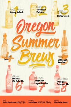 """Oregon Summer Brews"" - Featuring Andes Condensed & Ghost Type; From LatinoType & Set Sail Studios; Art by Blue Collar Agency"