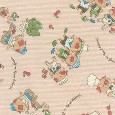VINTAGE Style Three Little Pigs Waffle Weave Fabric Japanese. $3.99, via Etsy.