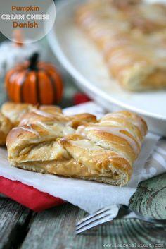 Pumpkin Cream Cheese Danish made with crescent roll dough  {Lauren's Latest}