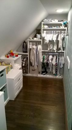 Making the most of a slanted ceiling and baby' The post Making the most of a slanted ceiling and baby' appeared first on Schrank ideen. Making the most of a slanted ceiling and baby' Closet Designs, Home, Attic Lighting, Angled Ceilings, Attic Apartment, Attic Closet, Closet Bedroom