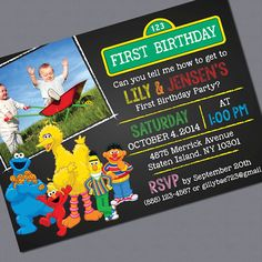 Hey, I found this really awesome Etsy listing at https://www.etsy.com/listing/201524654/sesame-street-photo-invitations-twins-or