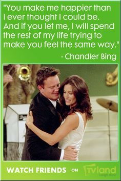 Such a beautiful quote from Chandler's proposal to Monica.. their wedding & love were just some of the moments that made this show great. You can watch ALL your favorite Friends moments every night at 10/9c on TV Land!