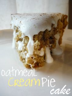 Oatmeal Cream Pie Cake-boyfriend loves oatmeal cream pies, maybe this is my ticket to finally get him to give up those processed preservative filled hockey pucks in favor of real food!