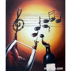 Wine & Music Oil Painting for sale on overArts.com