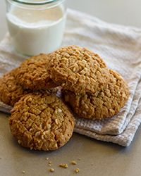 Chunky Peanut Butter Cookies Recipe- sub out eggs with 2 tsp flax seed mixed with 2 tbsp warm water. Subbed butter with vegan butter (Earth Balance). Viola!