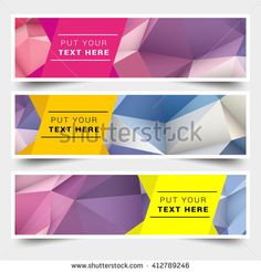 Set of sale banners design with low poly background, Polygon - stock vector