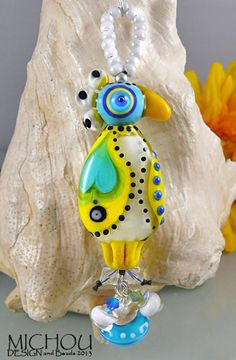 Crazy Chicken sculptural Art Glass Pendant by by MichouJewelry, $139.00