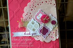 Mosaic Madness- New Stampin' Up! stamp set and New Incolor, Strawberry Slush. Card by Kimberly Van Diepen