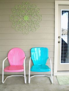 Want to find some old metal chairs and paint them bright colors
