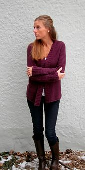 "Finished Sizes 33 (35, 37, 39, 41, 43, 45, 47, 49, 51)"" bust. Cardigan shown measures 33"", modeled with slight positive ease."