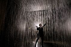 The Rain Room at The Barbican, London The room is fitted with 3D cameras that sense your location in the room, and automatically turn off the water valves above your head, allowing you to walk through the downpour without getting wet.