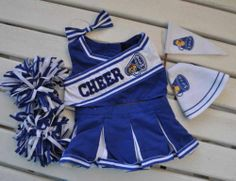 Build a Bear Cheerleader Outfit Clothes Pom Poms Megaphone Pennant Bow Clothing
