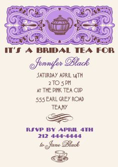 Bridal Tea Party Invitation Printable by letstopitoff on Etsy, $15.00