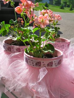 Dance Teacher Gift. I made these tutu flower pots for my daughter's dance teachers.