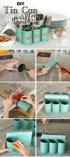 6.DIY Tin Can Organizers