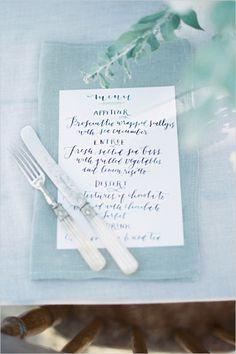 calligraphy wedding menu #weddingreception #menu #weddingchicks http://www.weddingchicks.com/2014/02/25/majestic-beach-wedding-ideas/