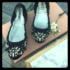 Miu Miu Embellished Flats SZ 38 Never worn. Comes with original box, tissue paper and care card. Made of silk and viscose. Interior made of leather. Size 38. Fits us 7.5 to 8. Made in Italy. Bought and is too small for me. They're very beautiful. Miu Miu Shoes Flats & Loafers